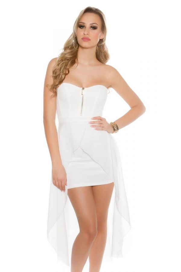 άσπρο κοντό στράπλες φόρεμα με ασύμμετρη διαφάνεια