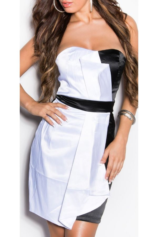 άσπρο μαύρο φόρεμα κοκτέιλ στράπλες σατέν