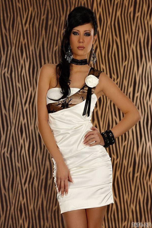 άσπρο φόρεμα σατέν ασύμμετρο ένας ώμος διακοσμημένο μαύρη μπεζ δαντέλα