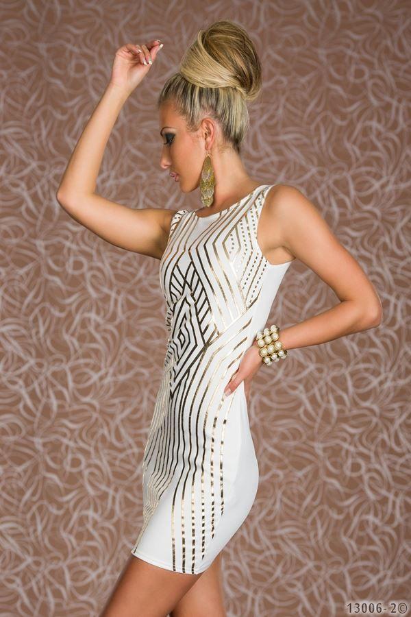 άσπρο φόρεμα χρυσή διακόσμηση μίνι