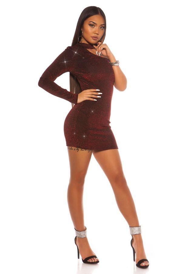 dress asymmetric one shoulder glitter red.