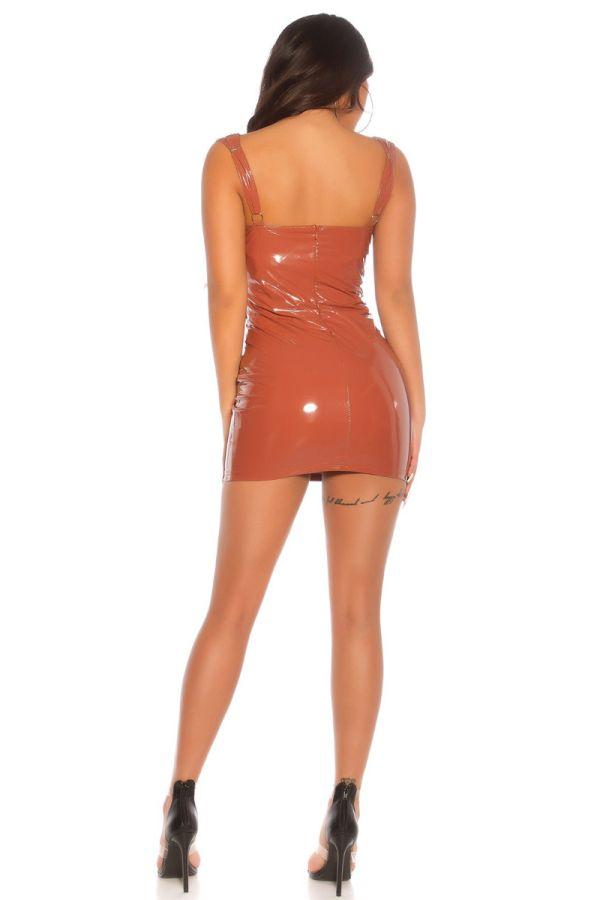 dress vinyl sexy sleeveless bronze.