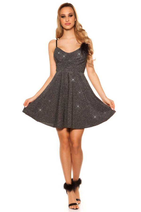 Φόρεμα Βραδινό Γκλιτερ Ασημί ISDK31585
