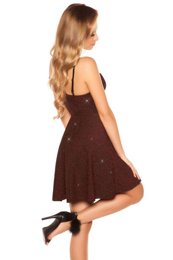 Φόρεμα Βραδινό Γκλιτερ Μπορντό ISDK31585