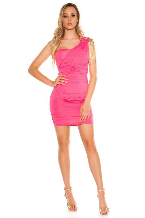Φόρεμα Club Ασύμμετρο Αλυσίδες Ροζ ISDF377042