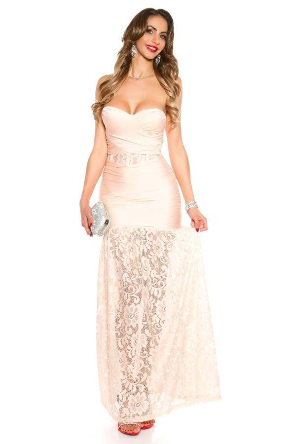 φόρεμα μακρύ μάξι βραδινό στράπλες δαντέλα μπεζ.