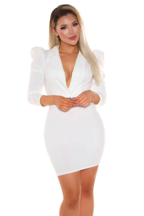 dress evening sexy decollete belt white.
