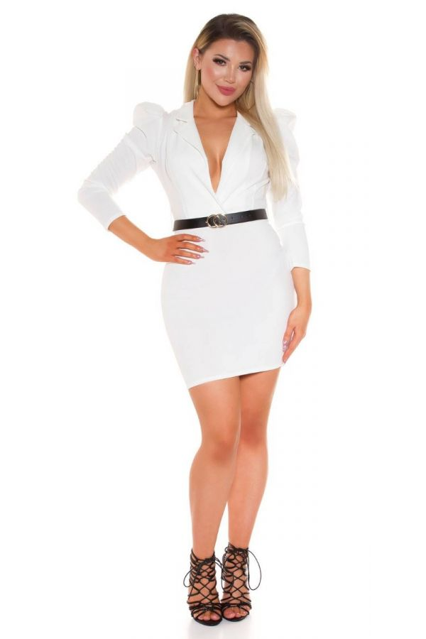 DRESS EVENING SEXY DECOLLETE BELT WHITE ISDK411773