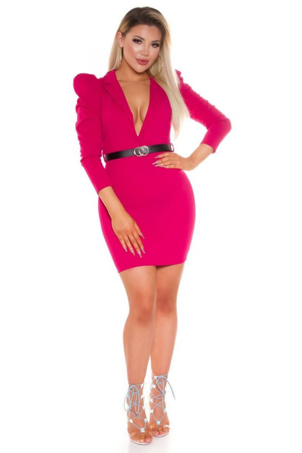 DRESS EVENING SEXY DECOLLETE BELT FUCHSIA ISDK411773