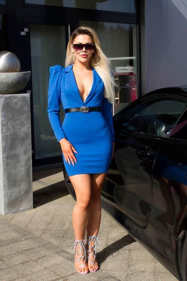 dress evening sexy decollete belt blue.