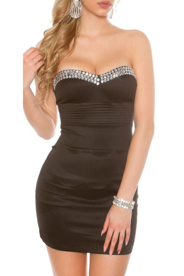 φόρεμα βραδινό στράπλες πέτρες μαύρο.