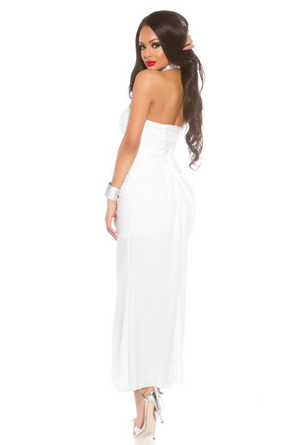 Dress Long Evening Strapless Stones White ISDK91391