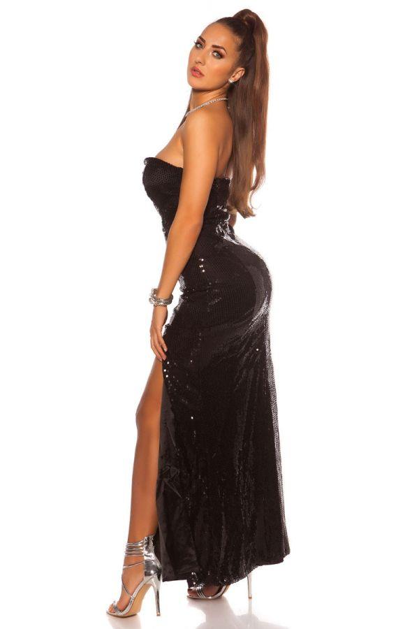 φόρεμα μακρύ βραδινό στραπλες παγιέτες μαύρο.