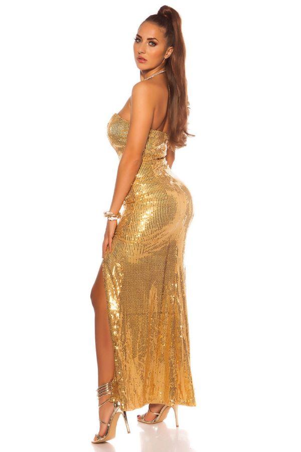 φόρεμα μακρύ βραδινό στράπλες παγιέτες χρυσό.