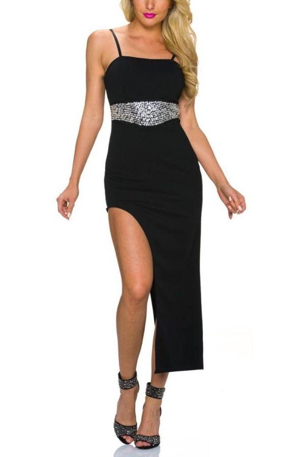 Dress Maxi Evening Asymmetrical Stones Black TQ1623209