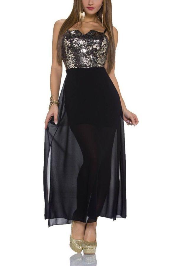 Φόρεμα Μακρύ Σέξι Χρυσαφί Παγιέτες Μαύρο QQ1920030