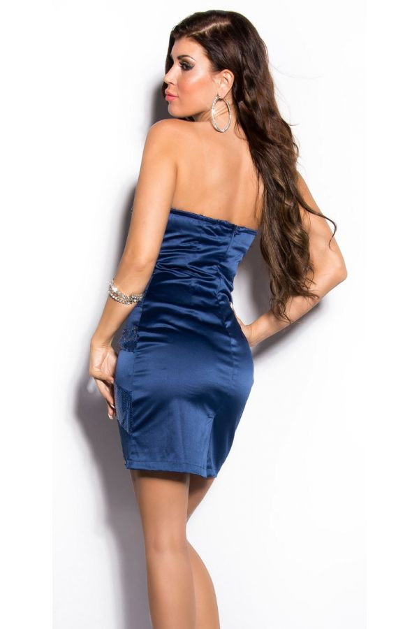 DRESS FORMAL SATIN STRAPLESS SEQUINS BLUE ISDB2099