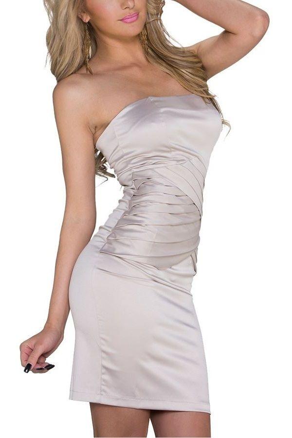 φόρεμα βραδινό σατέν στράπλες σαμπανί.