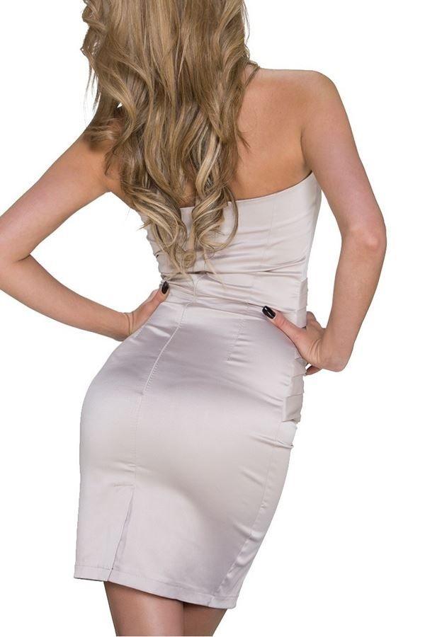 Φόρεμα Βραδινό Στράπλες Σατέν Σαμπανί Q2022470