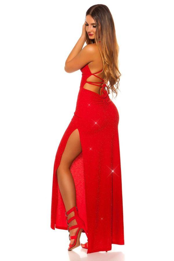 Φόρεμα Μάξι Βραδινό Σέξι Κόκκινο Ασημί ISDK2010872