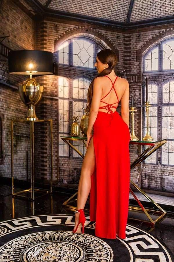 Φόρεμα Μάξι Βραδινό Σέξι Κόκκινο ISDK2010872