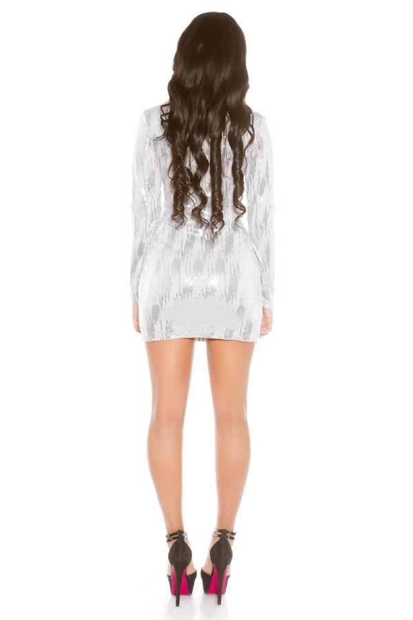 φόρεμα club κοντό μακριά μανίκια ασημί παγιέτες γκρι.