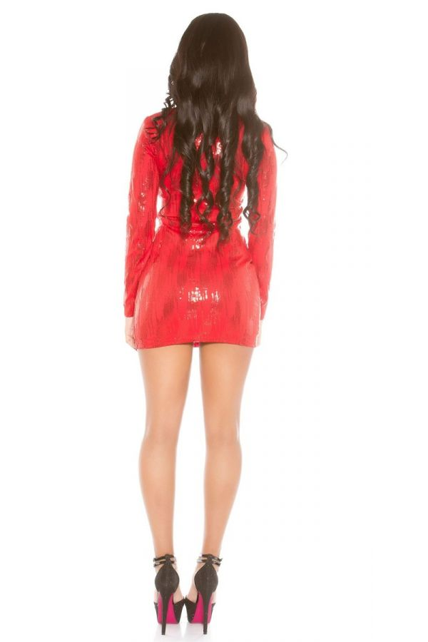 dress club long sleeves sequins red.