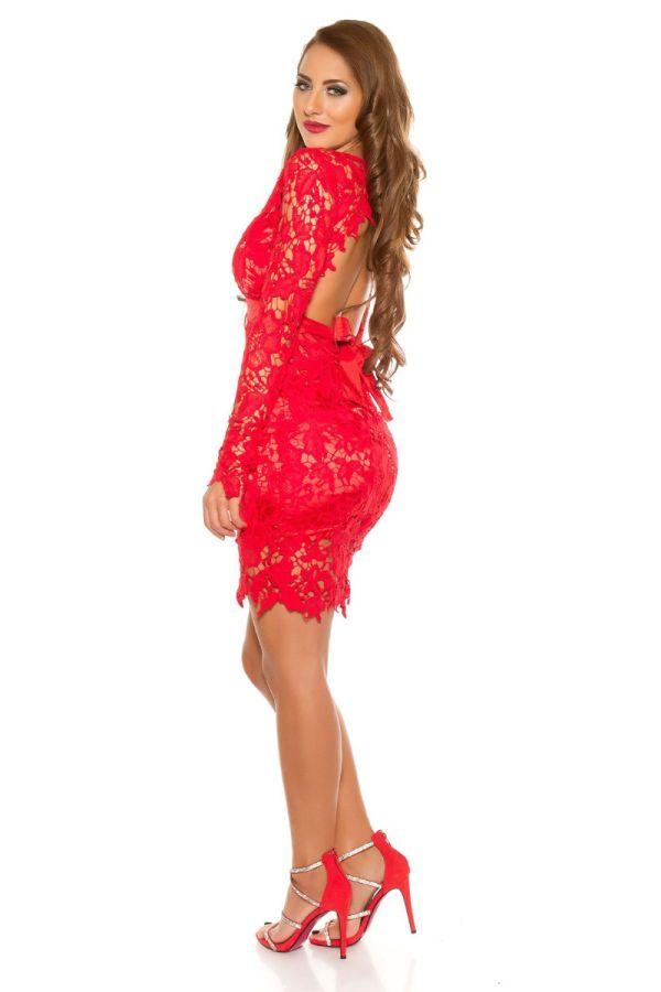 φόρεμα βραδινό δαντέλα σέξι πλάτη κόκκινο.