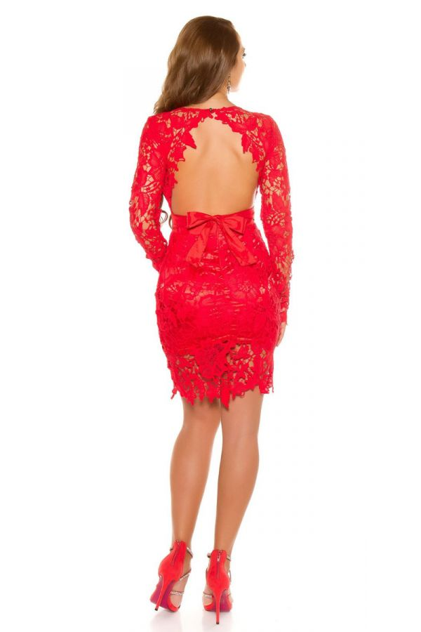 DRESS EVENING LACE SEXY BACK RED ISDK194613