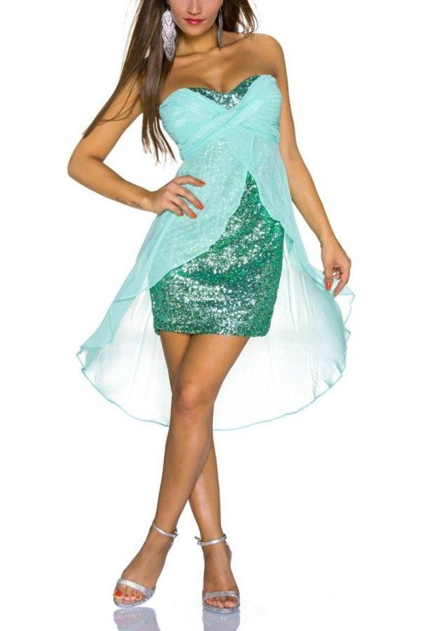 Dress Evening Bandeau Sequins Turquoise QQ1717952