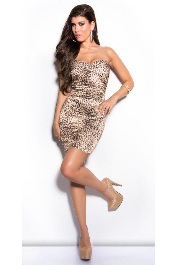 Dress Formal Strapless Satin Leopard ISDN500216