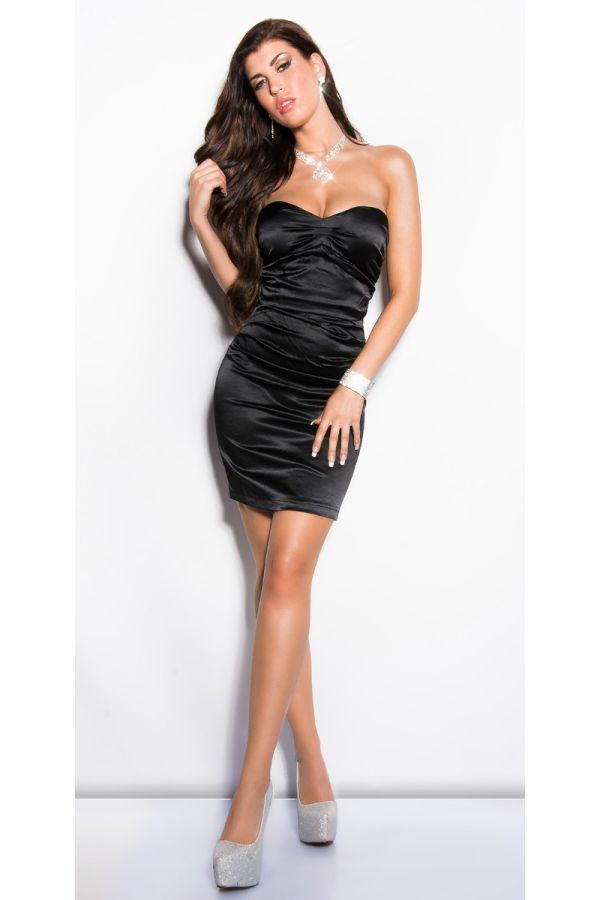 Dress Formal Strapless Satin Black ISDN500216