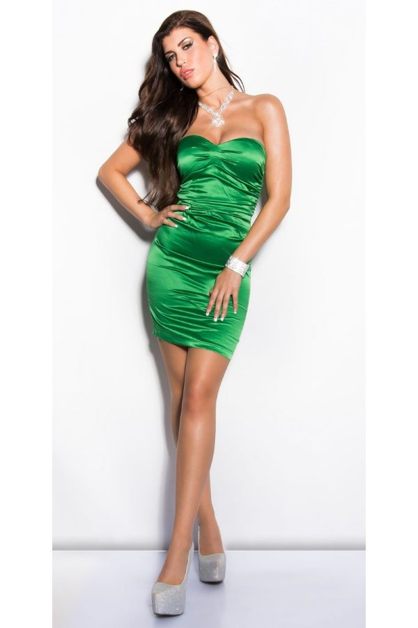 Dress Formal Strapless Satin Green ISDN500216
