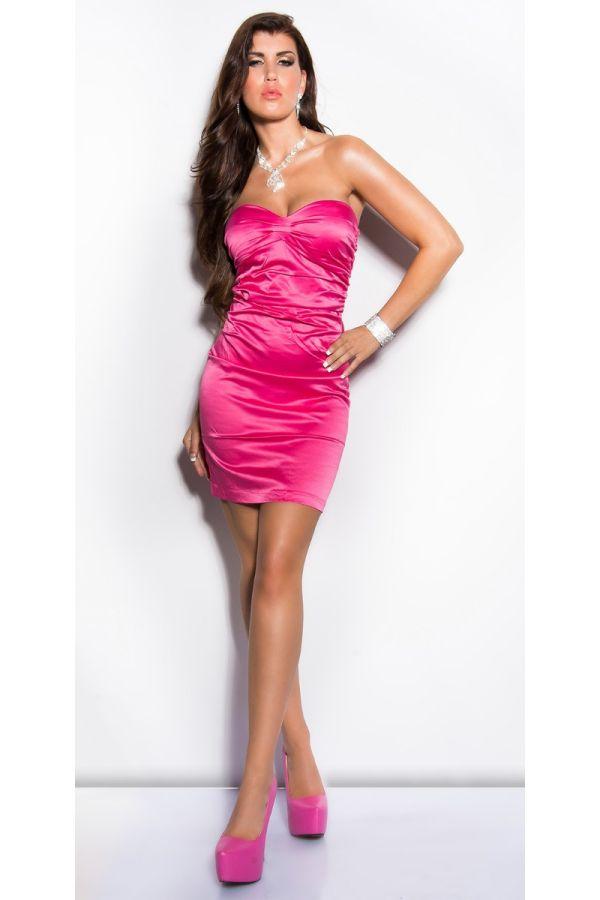 Dress Formal Strapless Satin Pink ISDN500216