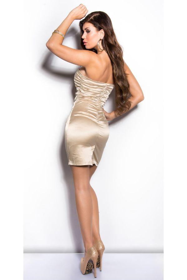 Dress Formal Strapless Satin Champagne ISDN500216