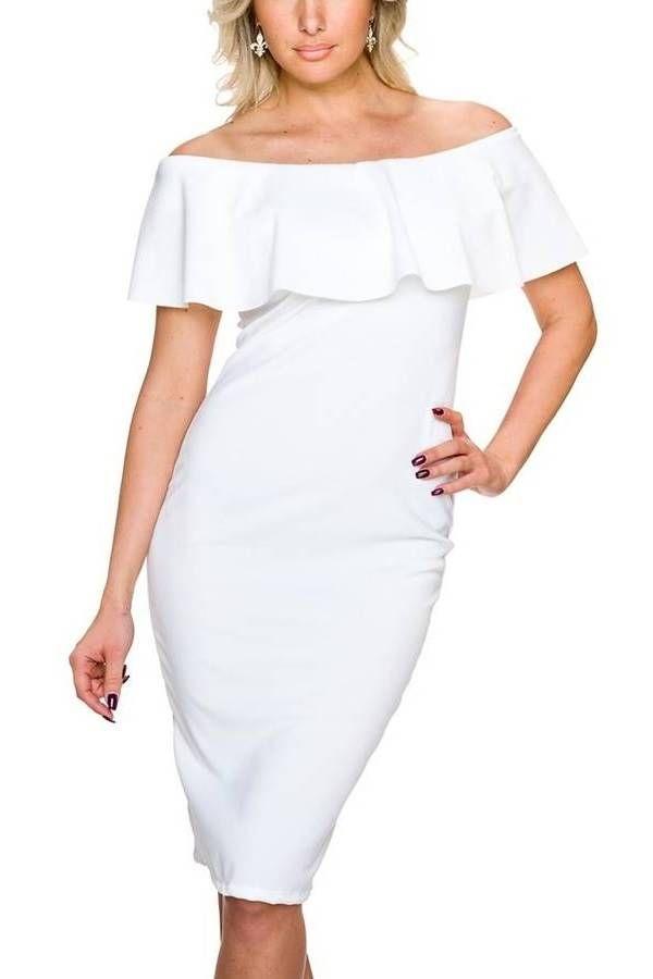 Φόρεμα Business Βολάν Αμάνικο Άσπρο QQ1724973