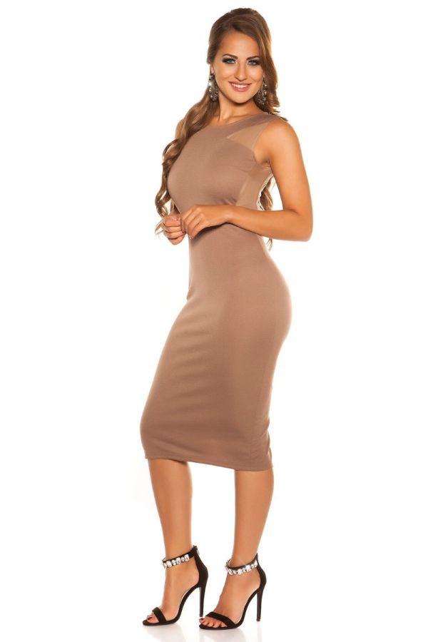 Καπουτσίνο midi φόρεμα με διαφάνεια