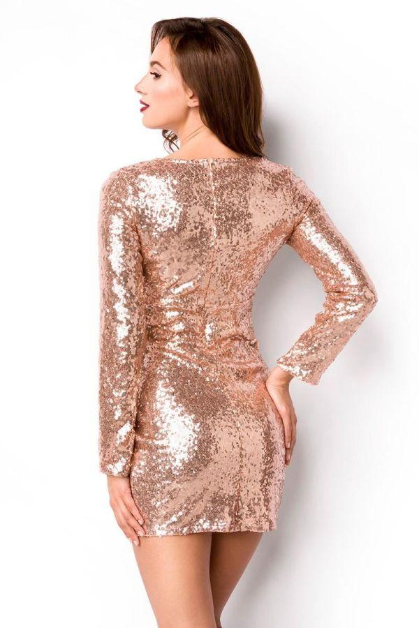 DRESS SEQUINS GOLD PINK DAT1914933