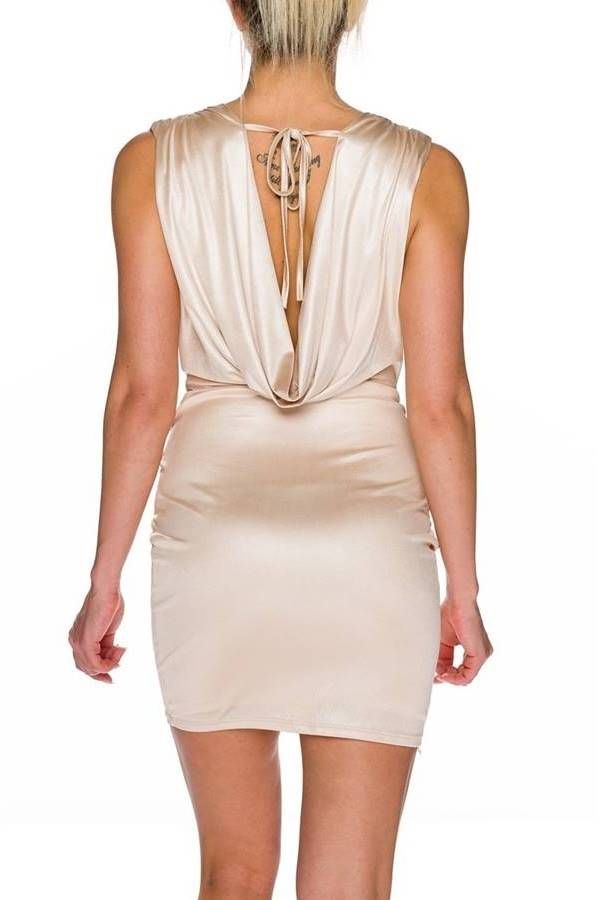 Dress Sexy Club Sleeveless Beige QQ1925596