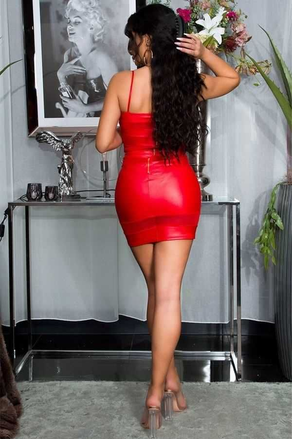 DRESS SEXY BUSTIER TRANSPARENCIES WETLOOK RED ISDK183706