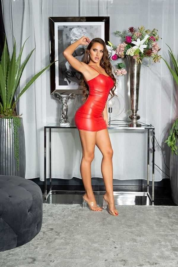DRESS SEXY SLEEVELESS WETLOOK RED ISDK202881