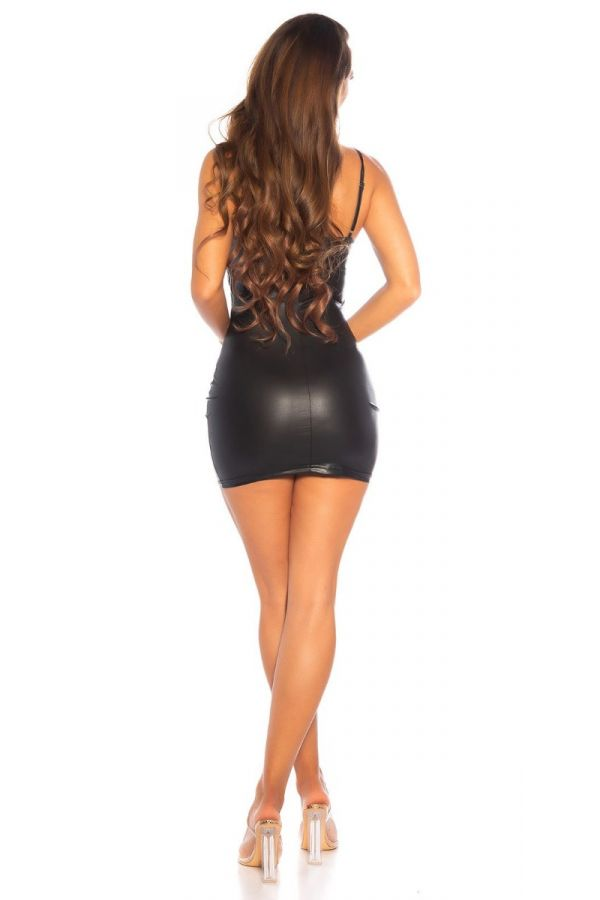 dress sexy sleeveless wetlook black.