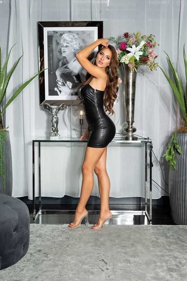 DRESS SEXY SLEEVELESS WETLOOK BLACK ISDK202881