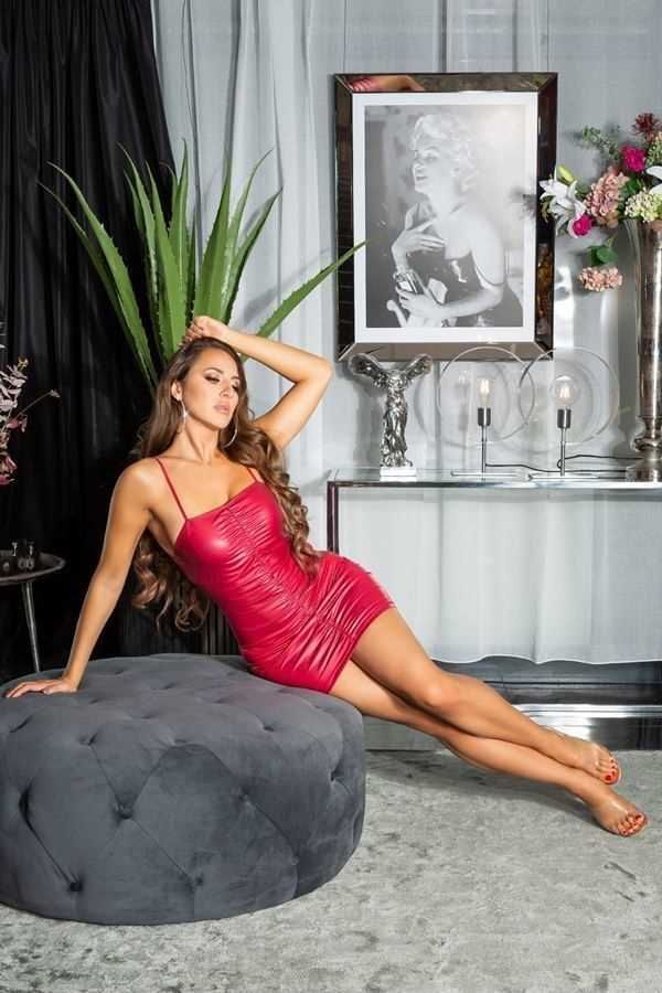 DRESS SEXY SLEEVELESS WETLOOK BORDEAUX ISDK202881