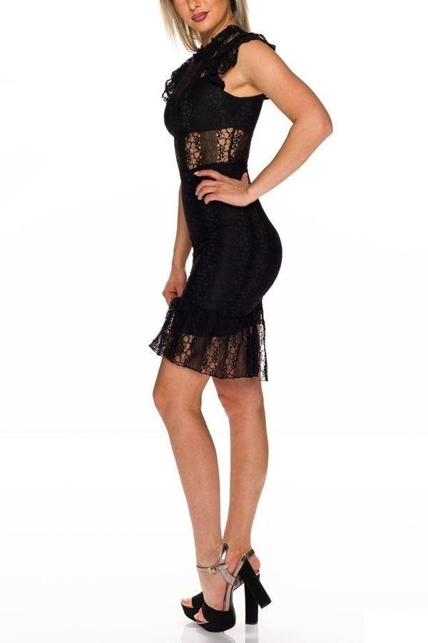 φόρεμα δαντέλα αμάνικο μαύρο.