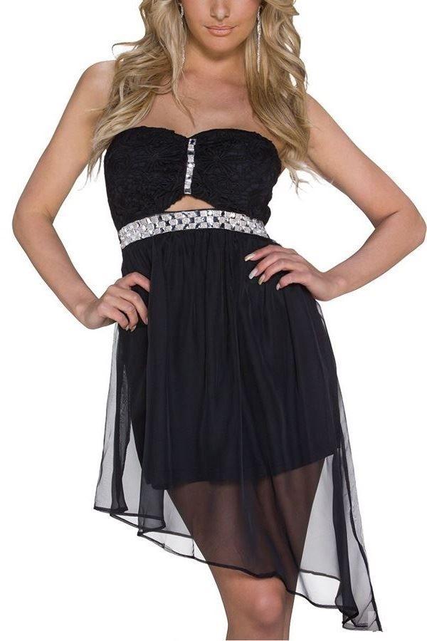 Φόρεμα Στράπλες Δαντέλα Στρας Μαύρο Q2020551