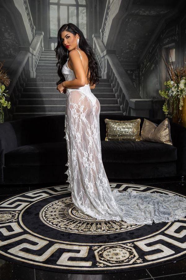 φόρεμα red carpet ουρά δαντέλα άσπρο.