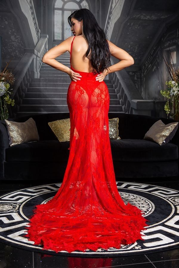 dress red carpet long back lace red.