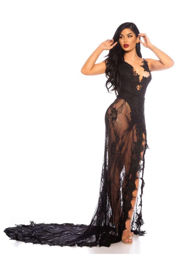 dress red carpet long back lace black.