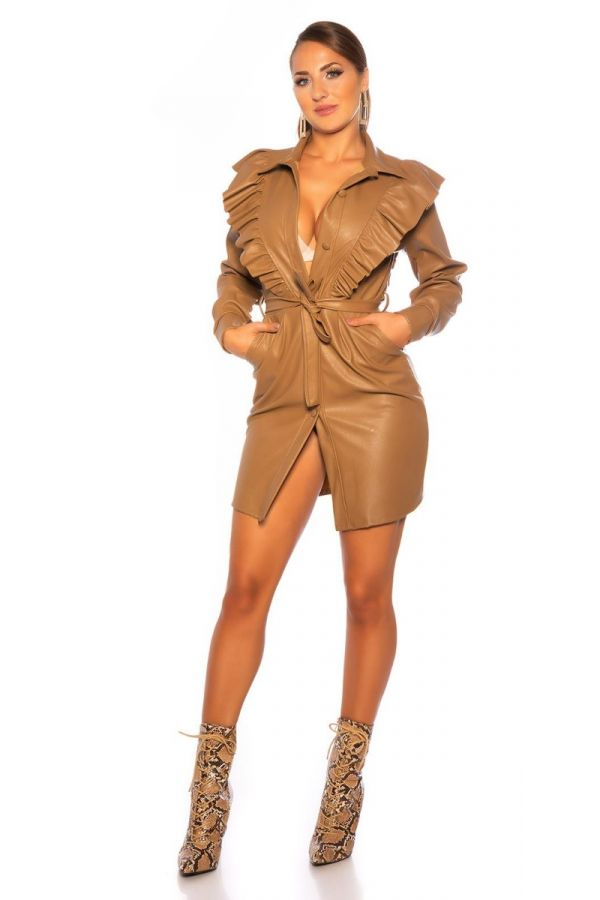 DRESS RUFLLLES COLLAR LEATHERETTE CAMEL ISDK90647